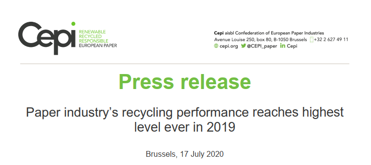 Paper industry's recycling performance reaches highest level ever in 2019