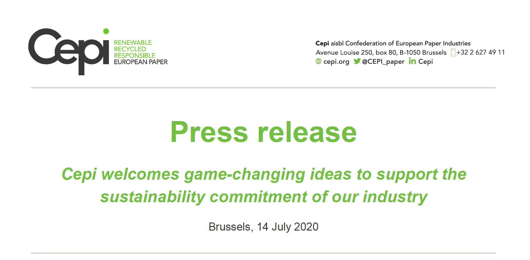 Cepi welcomes game-changing ideas to support the sustainability commitment of our industry