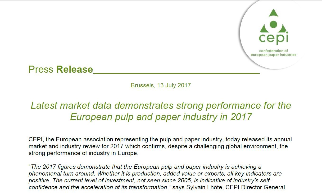 PRESS RELEASE: Latest market data demonstrates strong performance for the European pulp and paper industry in 2017