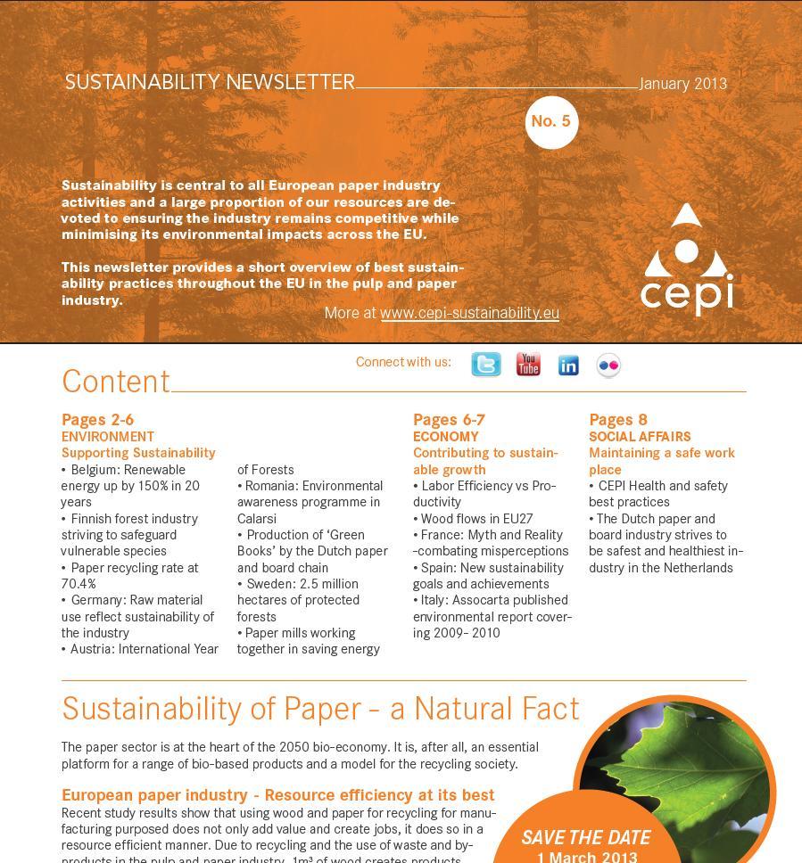 CEPI Sustainability newsletter Issue #5