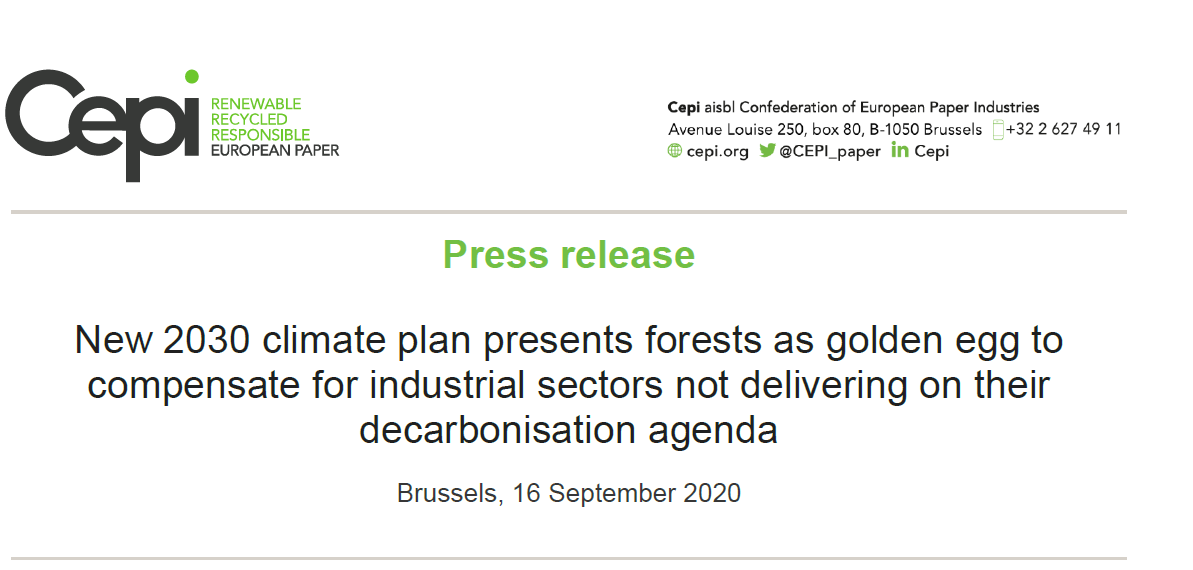 Press Release: New 2030 climate plan presents forests as golden egg to compensate for industrial sectors not delivering on their decarbonisation agenda