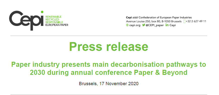 Press Release: Paper industry presents main decarbonisation pathways to 2030 during annual conference Paper & Beyond