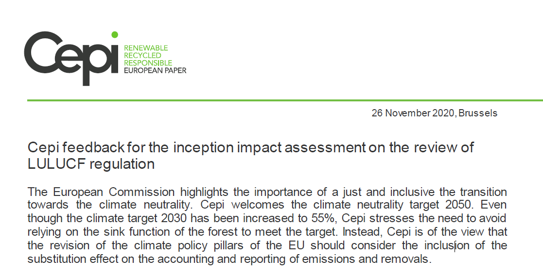 Cepi feedback for the inception impact assessment on the review of LULUCF regulation