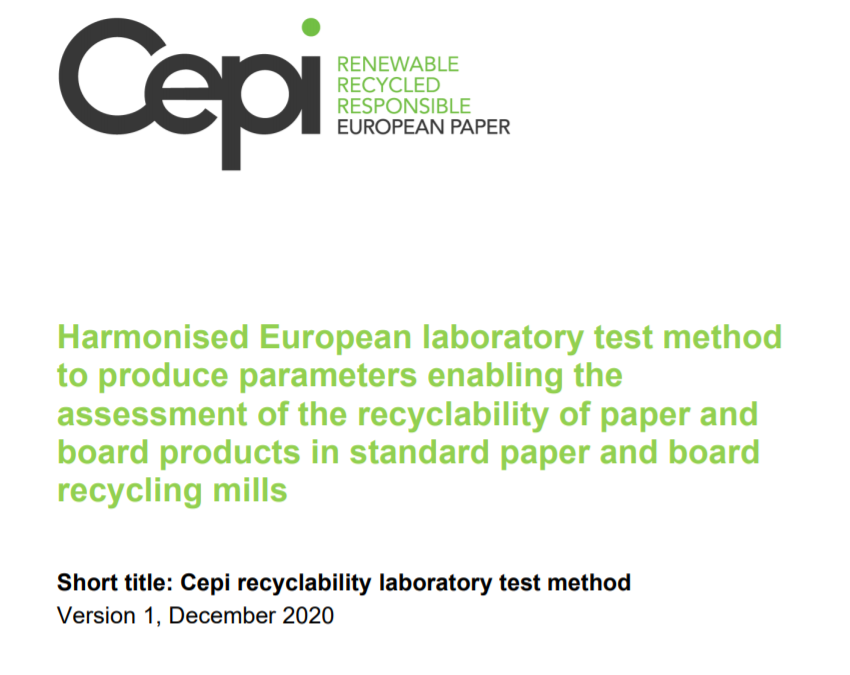 Harmonised European laboratory test method to produce parameters enabling the assessment of the recyclability of paper and board products in standard paper and board recycling mills
