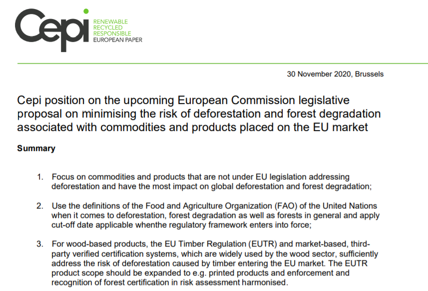 Cepi position on the upcoming European Commission legislative proposal on minimising the risk of deforestation and forest degradation associated with commodities and products placed on the EU market