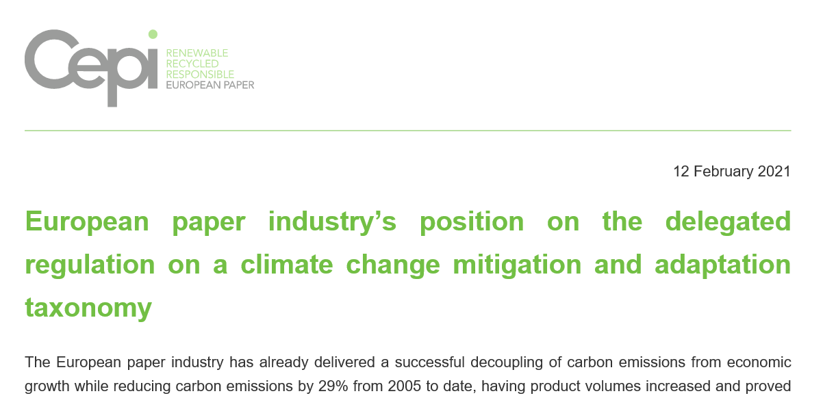 European paper industry's position on the delegated regulation on a climate change mitigation and adaptation taxonomy