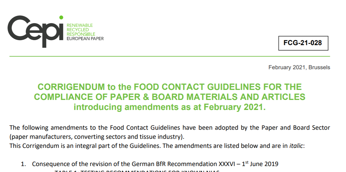 Publication of the amendments to the Food Contact Guidelines