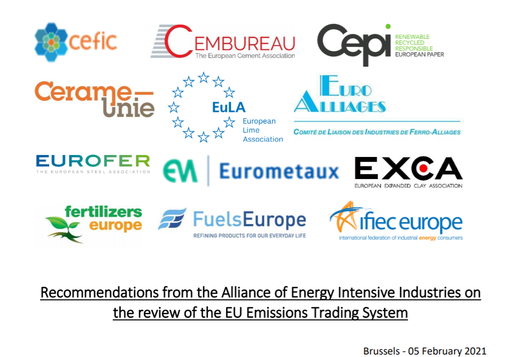 Recommendations from the Alliance of Energy Intensive Industries on the review of the EU Emissions Trading System