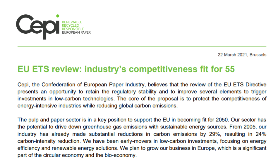 Cepi position on the EU ETS review: industry's competitiveness fit for 55