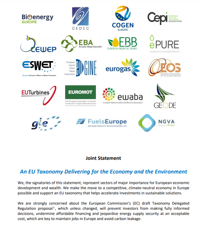 Joint Statement: An EU Taxonomy Delivering for the Economy and the Environment