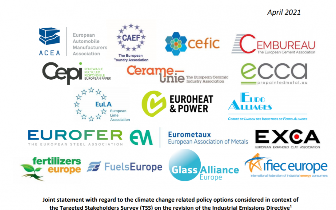 Joint industry statement on the decarbonisation policy options suggested in the Industrial Emissions Directive (IED)