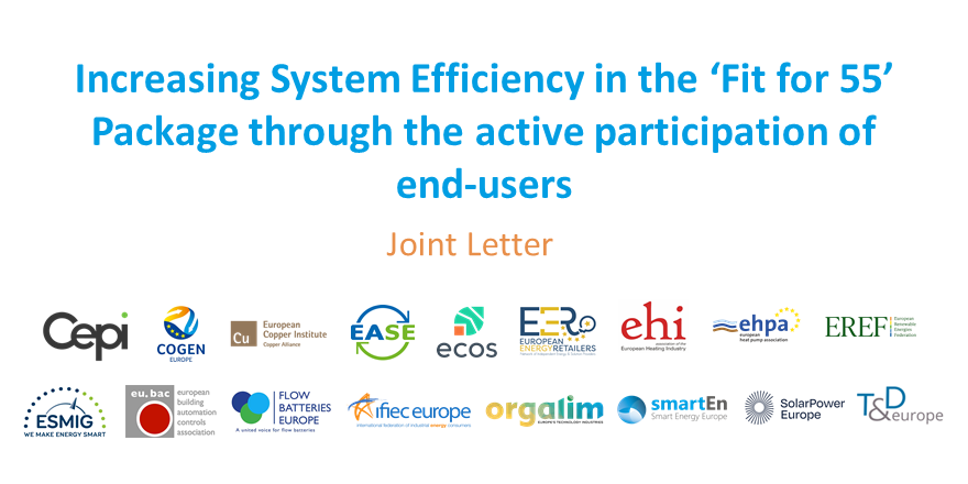 Increasing System Efficiency in the 'Fit for 55' Package through the active participation of end-users – joint letter to Frans Timmermans and Kadri Simson