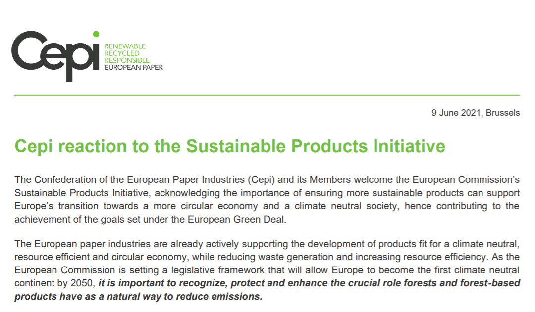 Cepi reaction to the Sustainable Products Initiative
