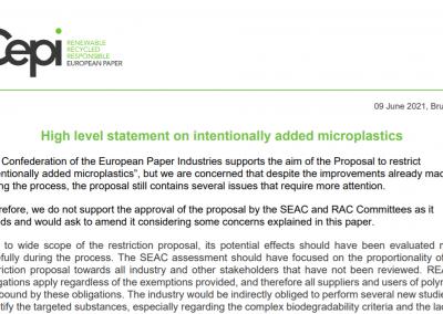 High level statement on intentionally added microplastics