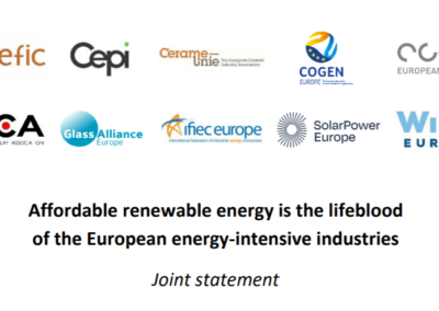 Joint statement: Affordable renewable energy is the lifeblood of the European energy-intensive industries