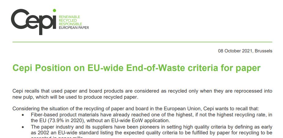 Cepi Position on EU-wide End-of-Waste criteria for paper